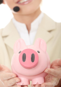 female-call-center-agent-holding-pink-piggy-bank