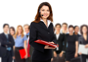 female-call-center-agent-group-of-agents-background