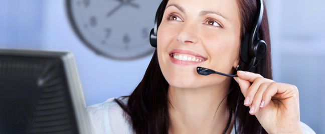 smiling-female-customer-service-agent-wall-clock-background