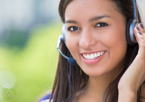 Smiling multilingual call center agent