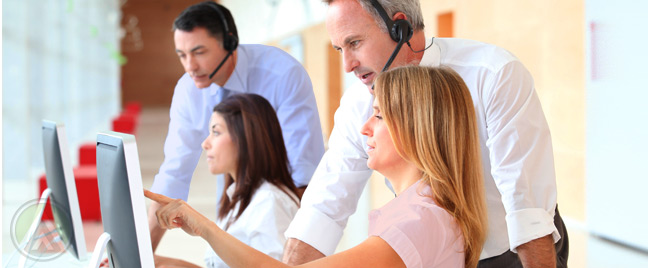 call-center-manager-and-agent-listening-to-recorded-calls-customer-call-center-solutions-Open-Access-BPO