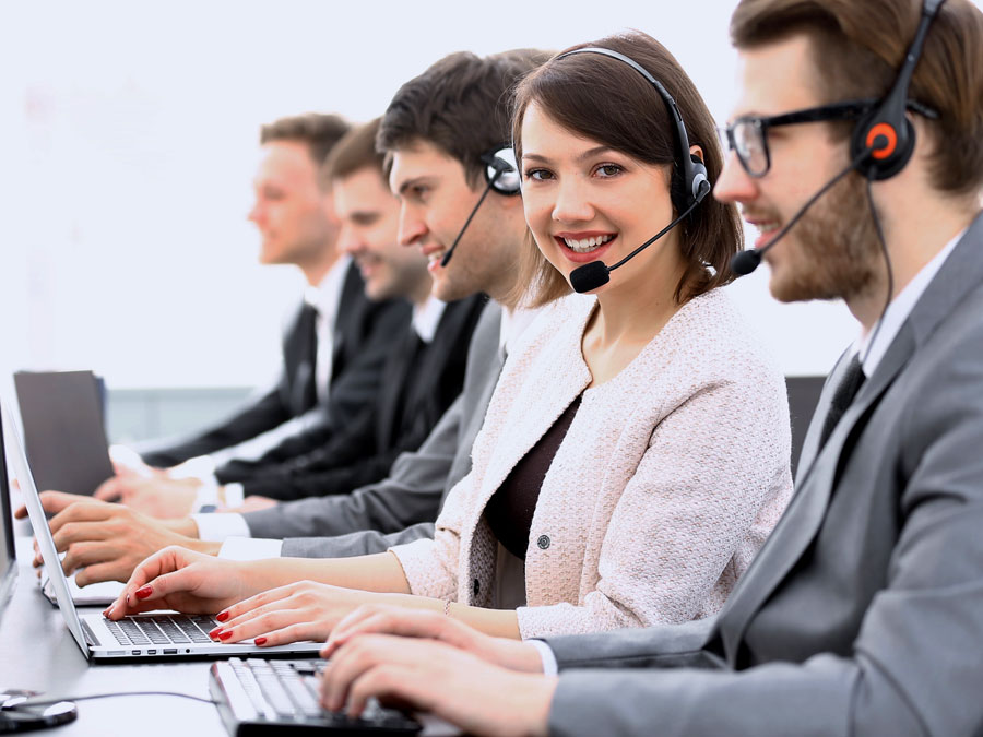 busy call center agents taking calls