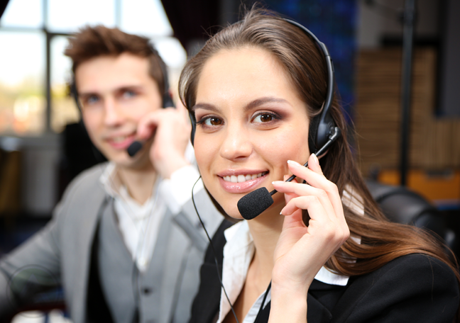smiling call center workers