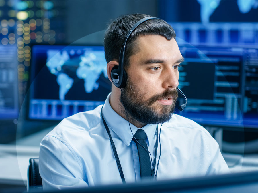 technical support in a call center with data security for handling outsourcing issues
