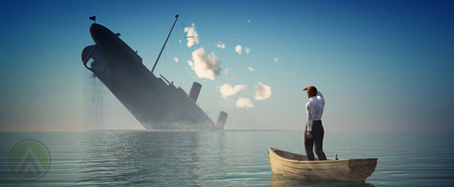 businesman on life raft watching ship sinking from afar