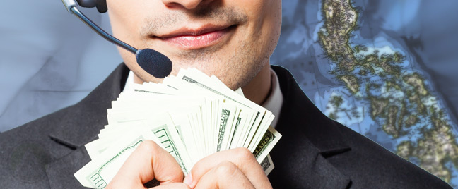 male-call-center-agent-holding-dollar-bills