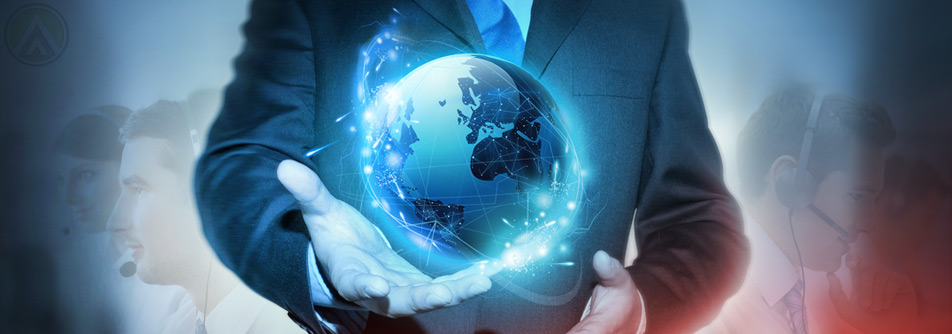 business-man-holding-globe-agents-background