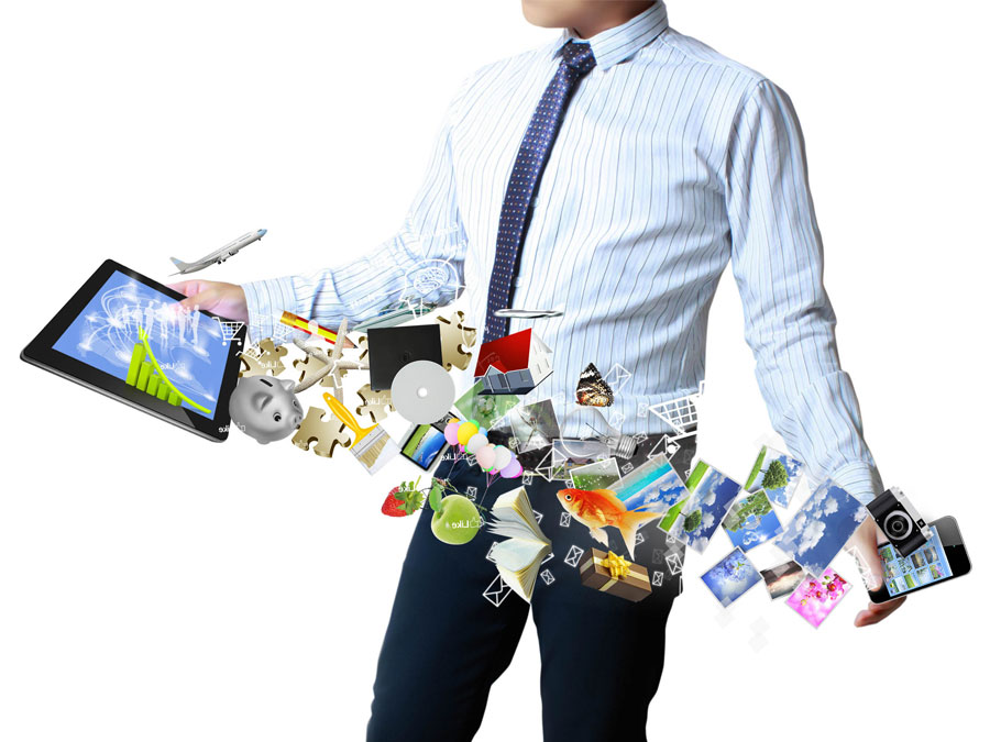 bpo employee with photos coming out of tablet