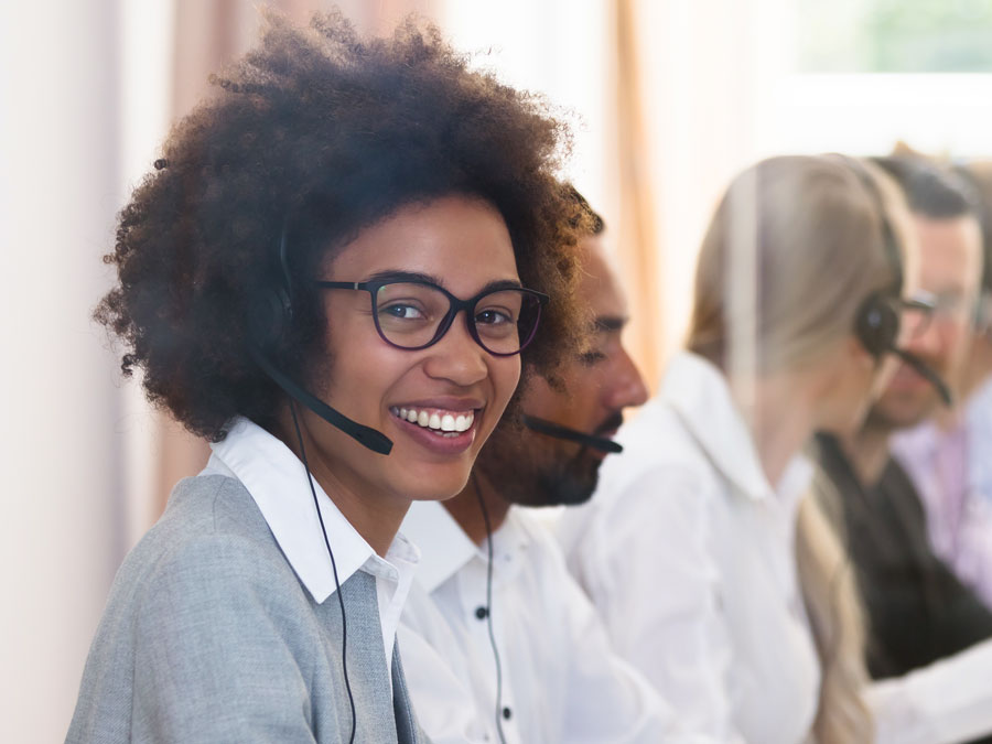 diligent call center agent providing technical support