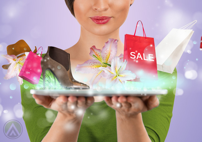 female-buyer-holding-ipad-with-shopping-icons