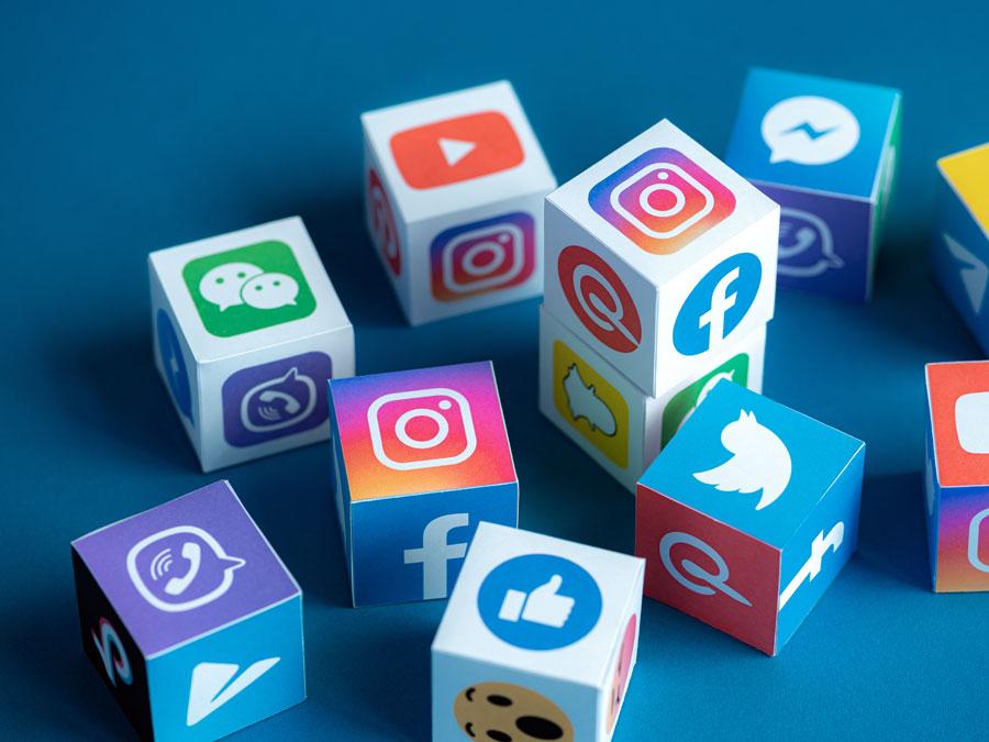social media icons on tiny cubes