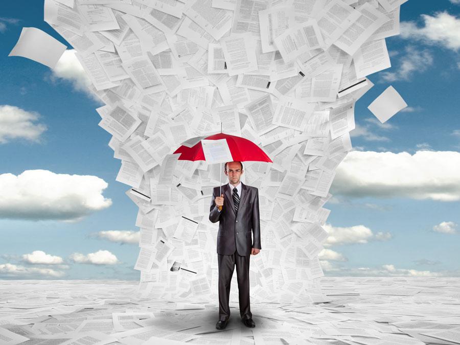 content moderation analyst under umbrella under raining paper documents