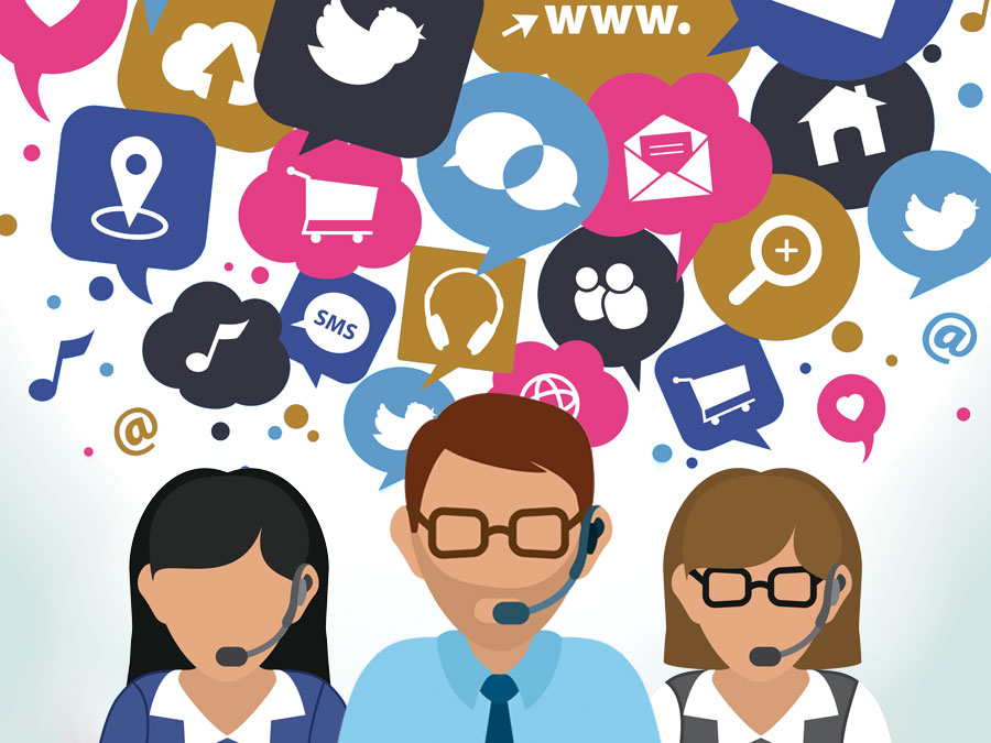 call center agents on customer service social media