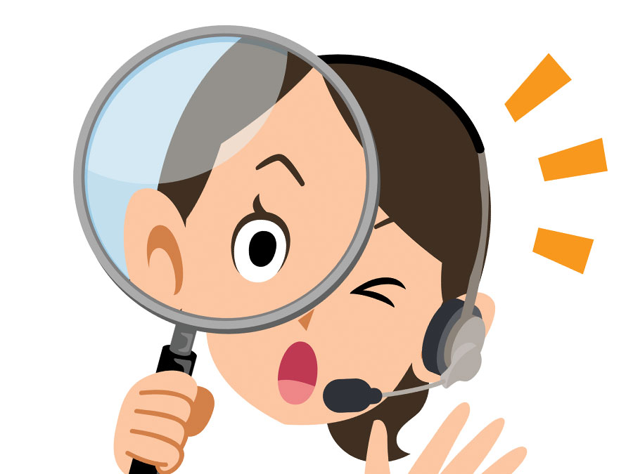 customer service agent holding magnifying lens