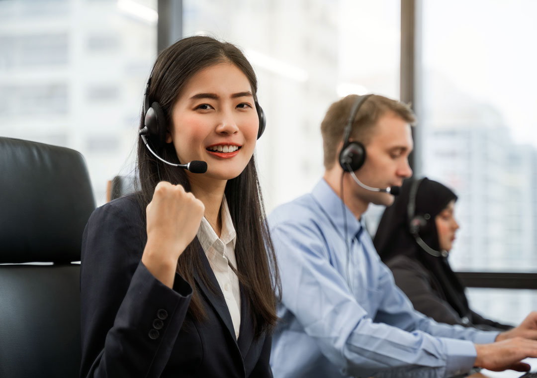 motivated customer service working in call center