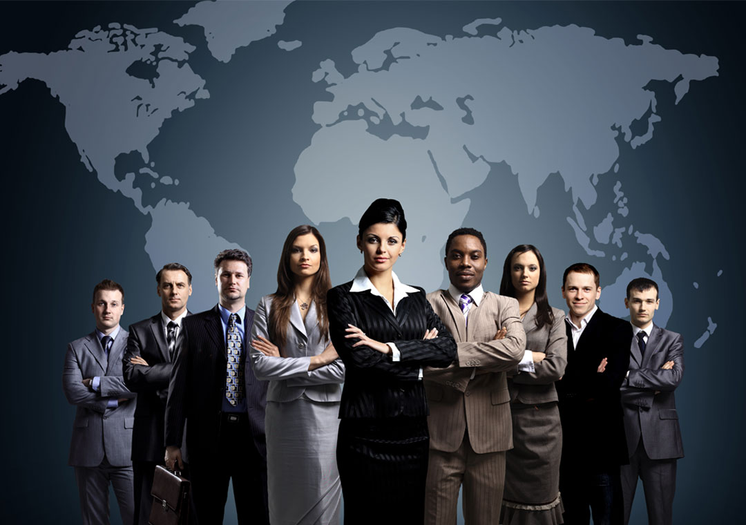 multilingual call center agents standing by world map