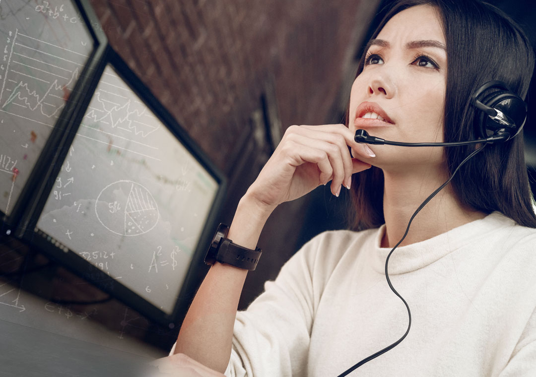 thinking call center agent helping customer