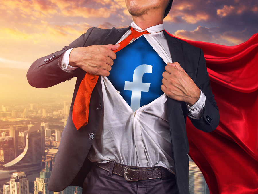superhero ripping open business suit facebook social media logo digital marketing customer service
