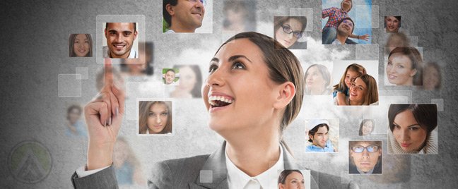 businesswoman-surrounded-by-many-photos-of-people