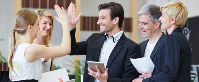 fun-call-center-manager-and-agents-high-five
