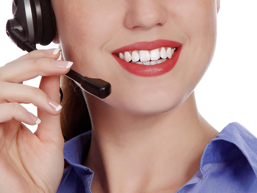 close up mouth call center agent