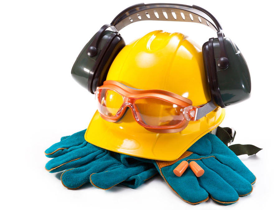 hard hat gloves headset