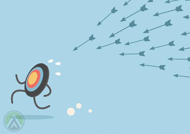 running-bullseye-chased-by-arrows-social-media-marketing