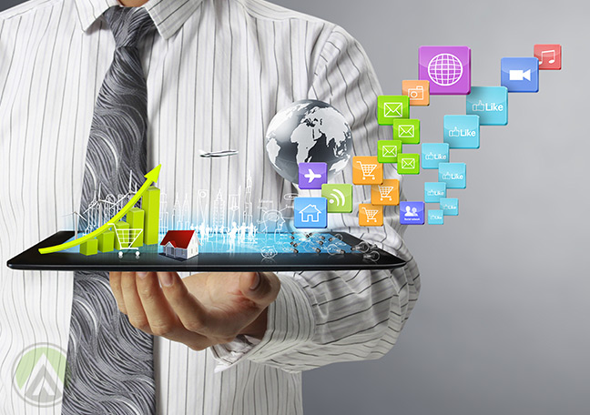 businessman-showing-social-media-spending-growth-on-tablet