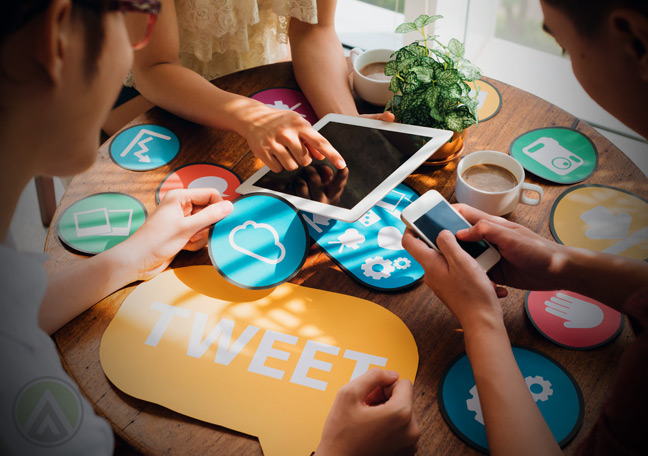 social-media-team-in-a-meeting-for-crm-using-tablets-smartphones