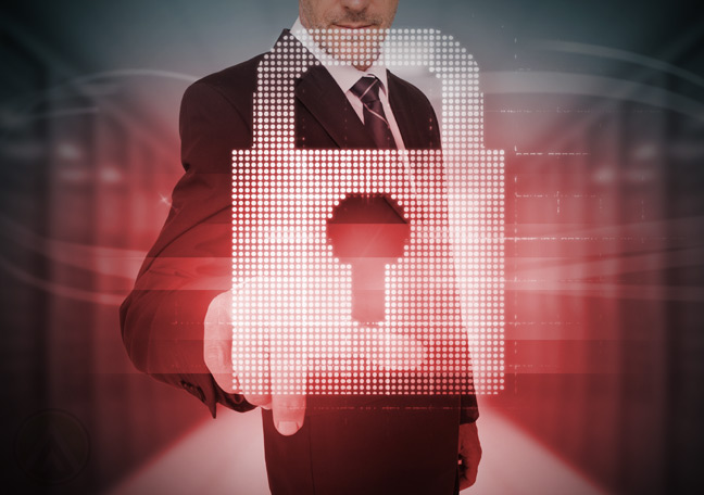 businessman-IT-professional-using-virtual-interface-with-padlock-logo-data-security