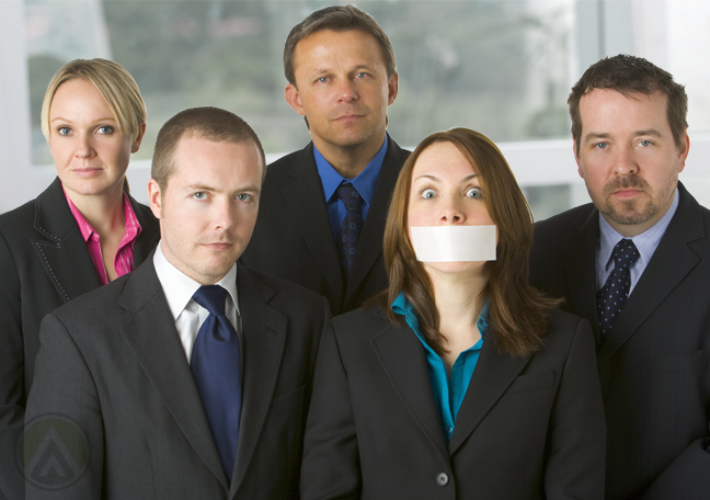 diverse-business-group-businesswoman-with-mouth-covered-by-tape