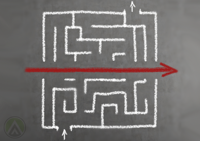 maze-arrow-goes-through
