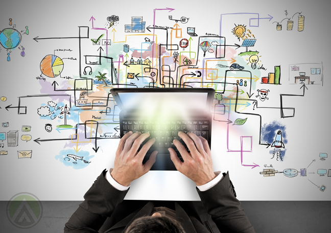 businessman-using-laptop-with-flowchart-drawn-in-background