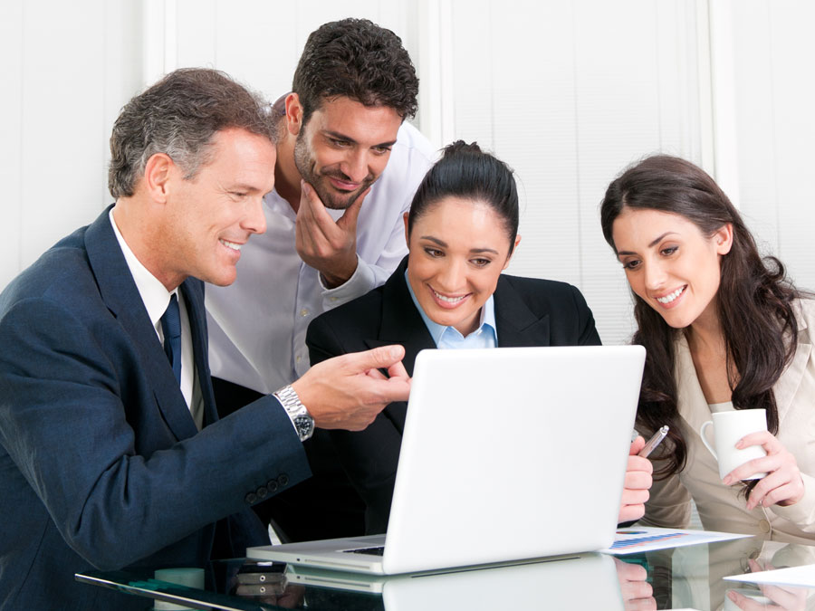 call center trainer teaching diverse outsourcing live chat support team