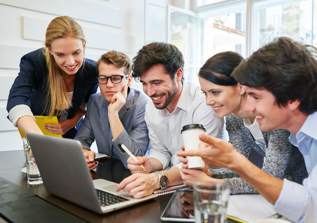 customer care team work huddle