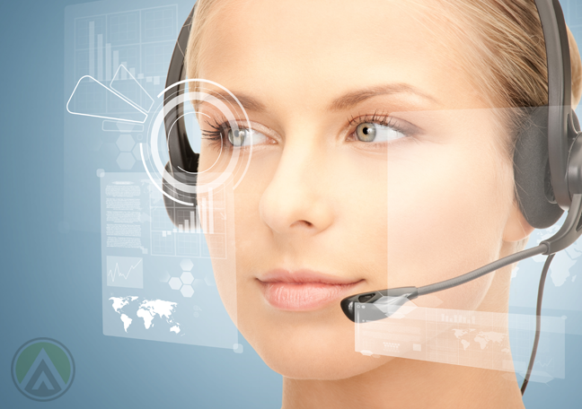 female-call-center-agent-looking-at-virtual-map-interface