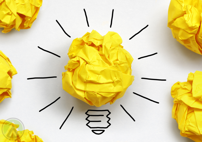 crumpled-yellow-paper-as-lightbulbs