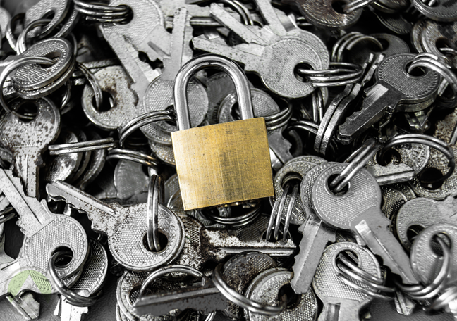 padlock-surrounded-bu-old-keys