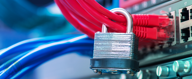 silver-padlock-hacnging-from-computer-cables-connected-to-server-ports