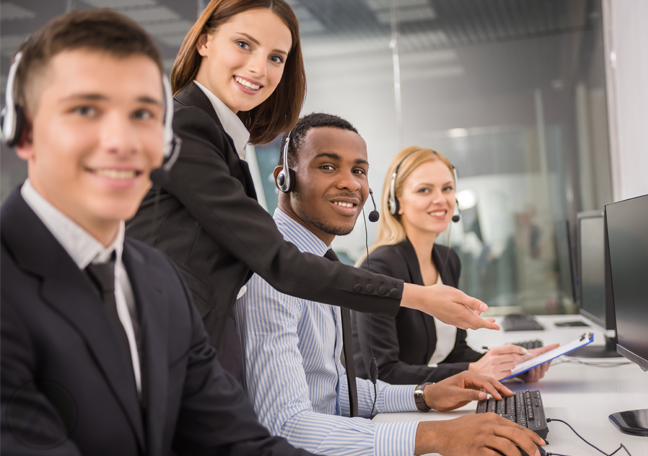 smiling-customer-support-agents-with-call-center-manager