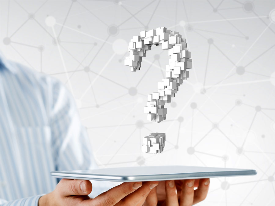 Ecommerce translation tools question mark on tablet