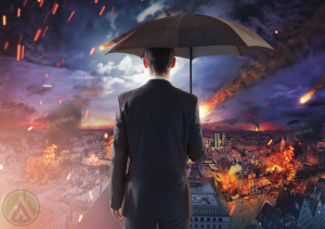 businessman-using-umbrella-watching-disaster-calamity