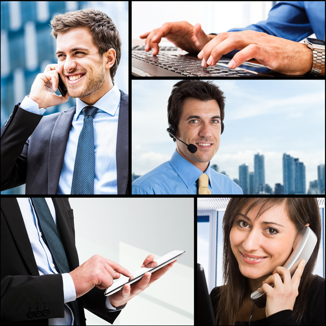 composite-of-customer-service-agents-on-a-call-and-using-computer-with-customer-on-phone
