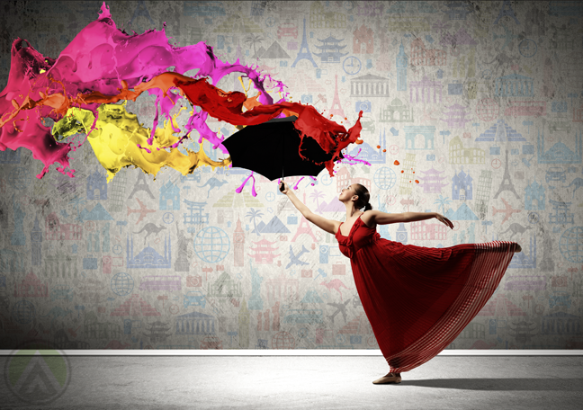 dancer-in-red-dress-throwing-paint-to-the-ceiling-cultural-designs-in-the-background