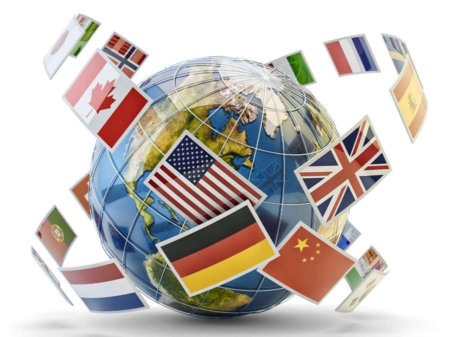 global ecommerce country flags around globe
