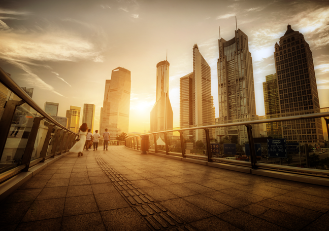 scenic-view-of-business-district-buildings-amid-surise