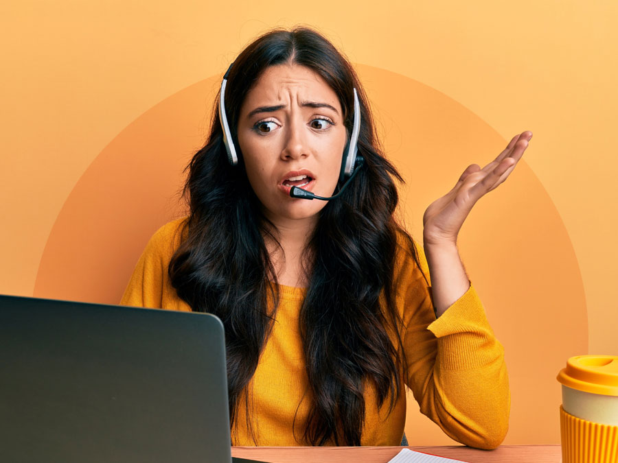confused call customer service agent talking to consumer in call center