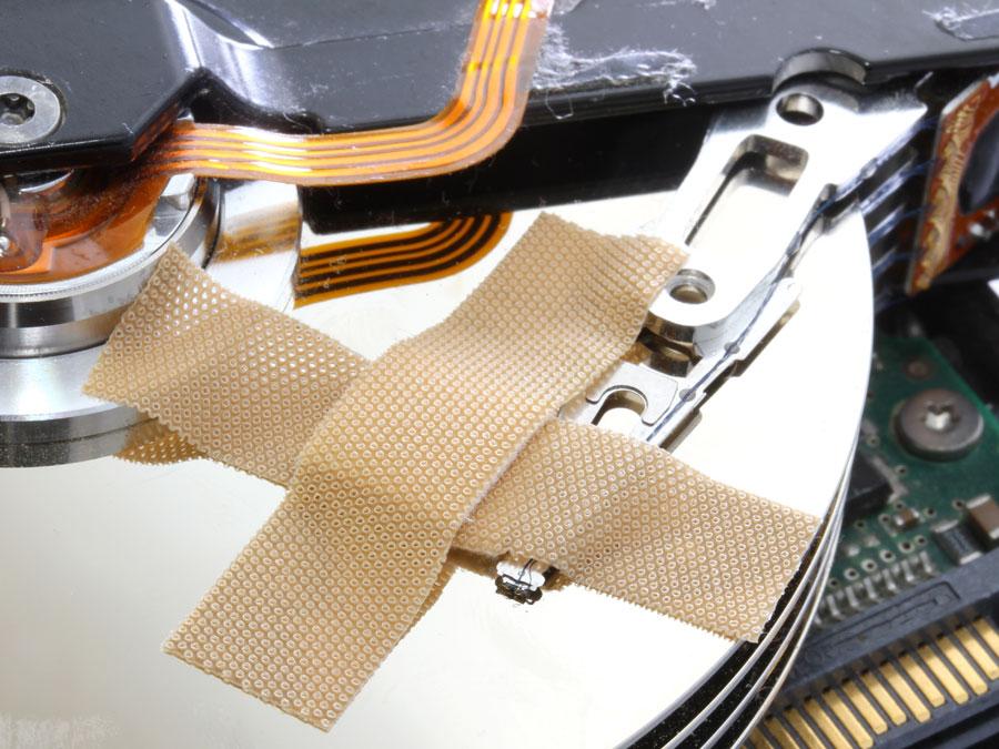 server storage hard drive broken band aid