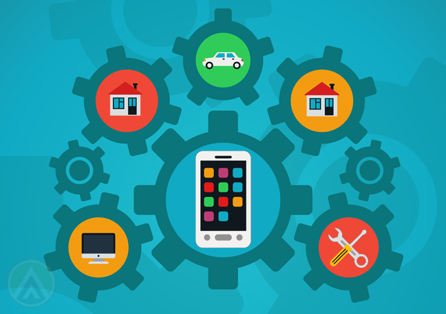 cogs-with-smartphone-home-computer-car-icons