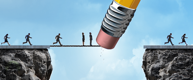 business-executives-running-through-foot-bridge-on-cliff-with-pencil-erasing-it